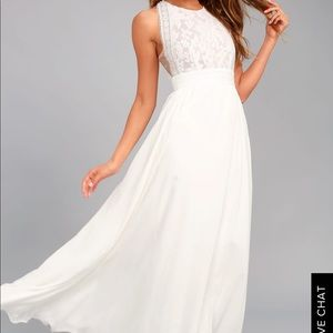 Lulus Forever and Always White Lace Maxi